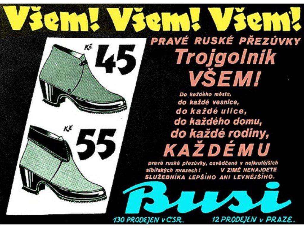 Plechová retro cedule / plakát - Pravé ruské přezůvky Trojgolnik