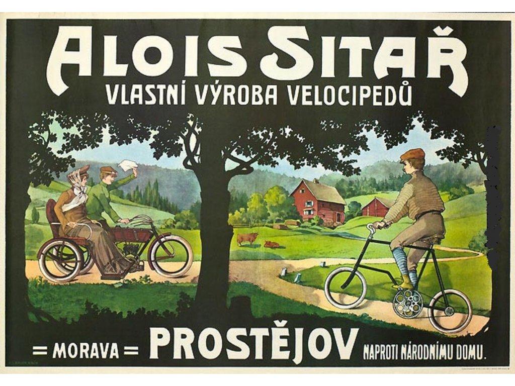 Reklamní plakát / Plechová cedule - Velocipedy Sitař