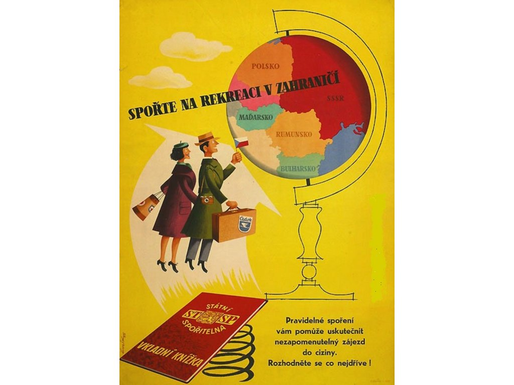 Plechová retro cedule / plakát - Spořte na rekreaci v zahraničí