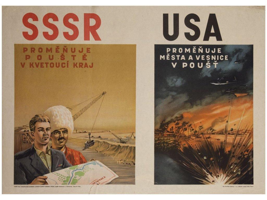 Budovatelský plakát / Plechová cedule - SSSR - USA