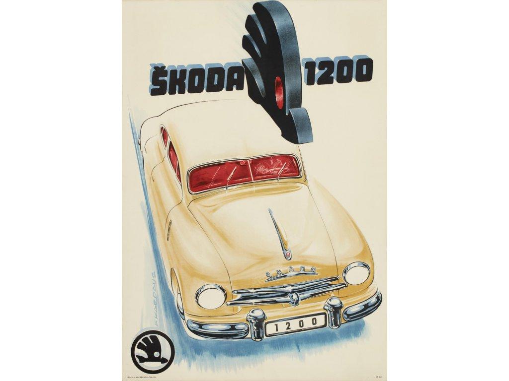 Plechová retro cedule / plakát - Škoda 1200