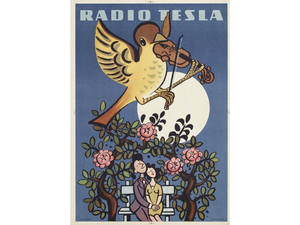 Plechová retro cedule / plakát - Rádio Tesla II