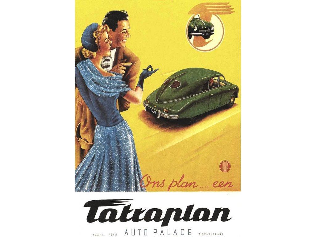 Plechová retro cedule / plakát - Tatraplan II