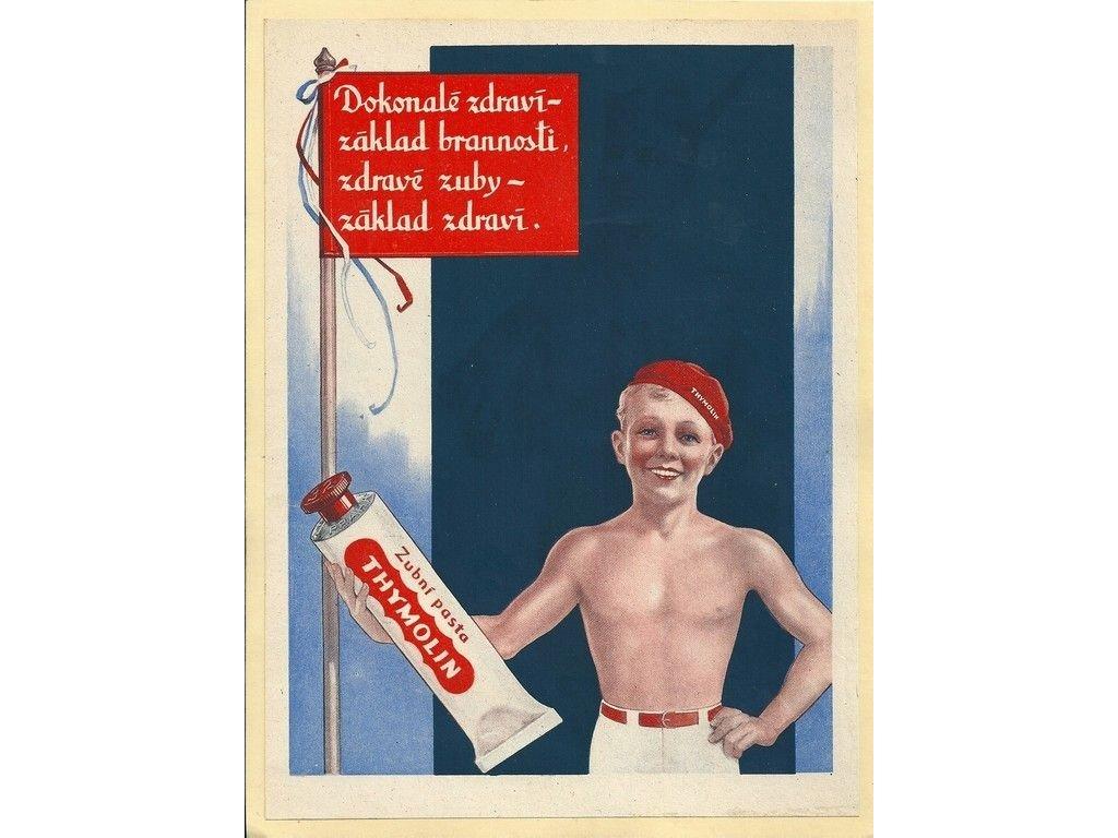 Plechová retro cedule / plakát - Zubní pasta Thymolin