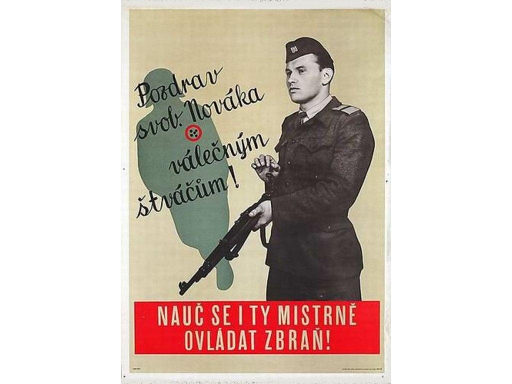 Retro plakát / Plechová cedule - Pozdrav svob. Nováka válečným štváčům