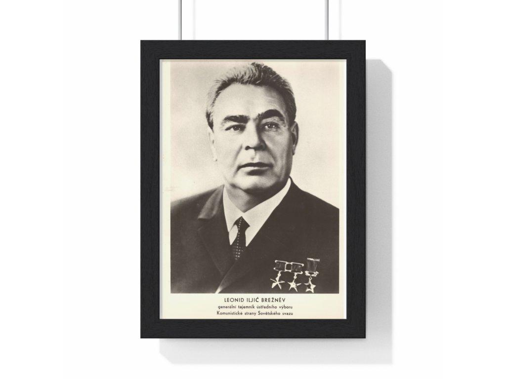 Leonid Iljič Brežněv - obraz / plechová cedule - retro dárek