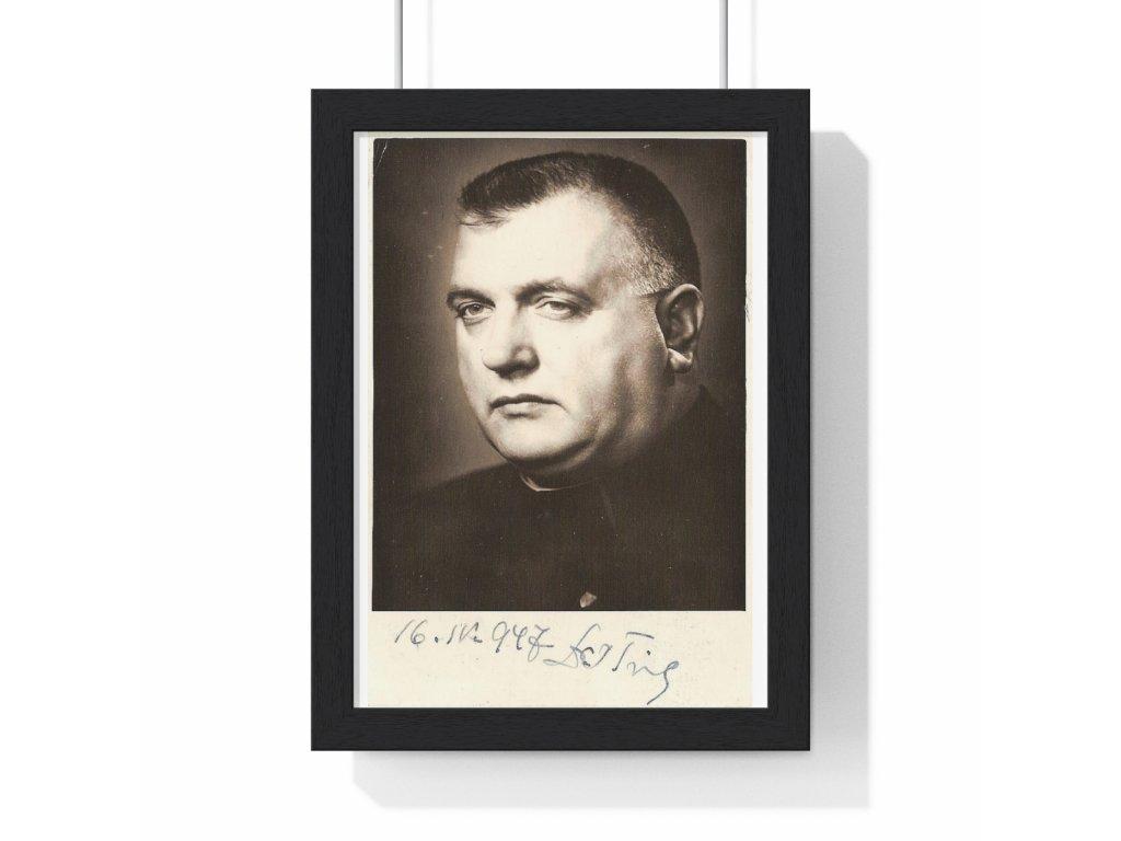 Jozef Tiso + podpis - obraz / plechová cedule - retro dárek