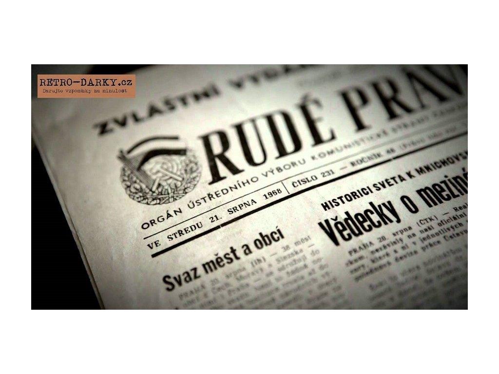 Noviny ze dne narození - Rudé právo + úvodní strana s blahopřáním