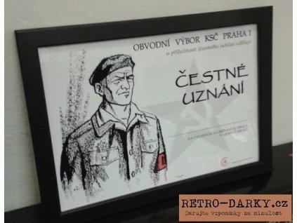 Čestné uznání KSČ- Lidové milice jako retro dárek