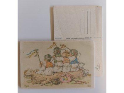 Dřevěná velikonoční pohlednice - Koledníci