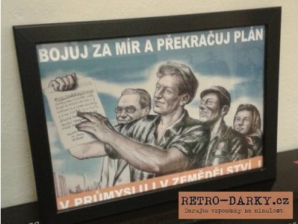Budovatelský plakát / Plechová cedule - Bojuj za mír...