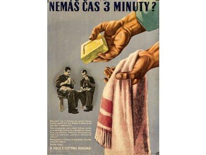 Budovatelský plakát / Plechová cedule - Nemáš čas 3 minuty?