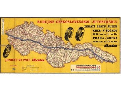 Reklamní plakát / Plechová cedule - Budujme Československou autostrádu