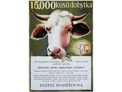 Plechová retro cedule / plakát - 15 000 kusů dobytka