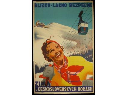 Budovatelský plakát / Plechová cedule - Zima v Československých horách