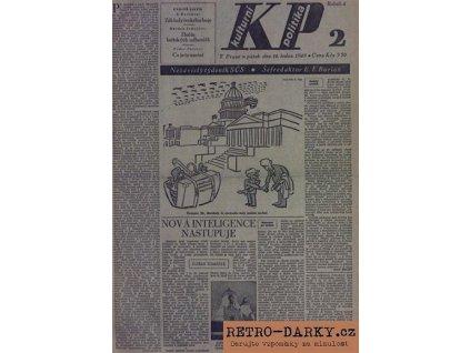 Noviny z data narození - Kulturní politika 1945 - 1949 + úvodní strana s blahopřáním