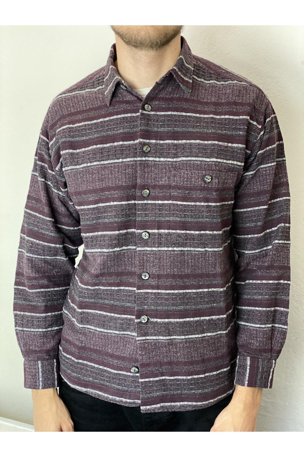 Pruhovaná flanelová košile vel. L