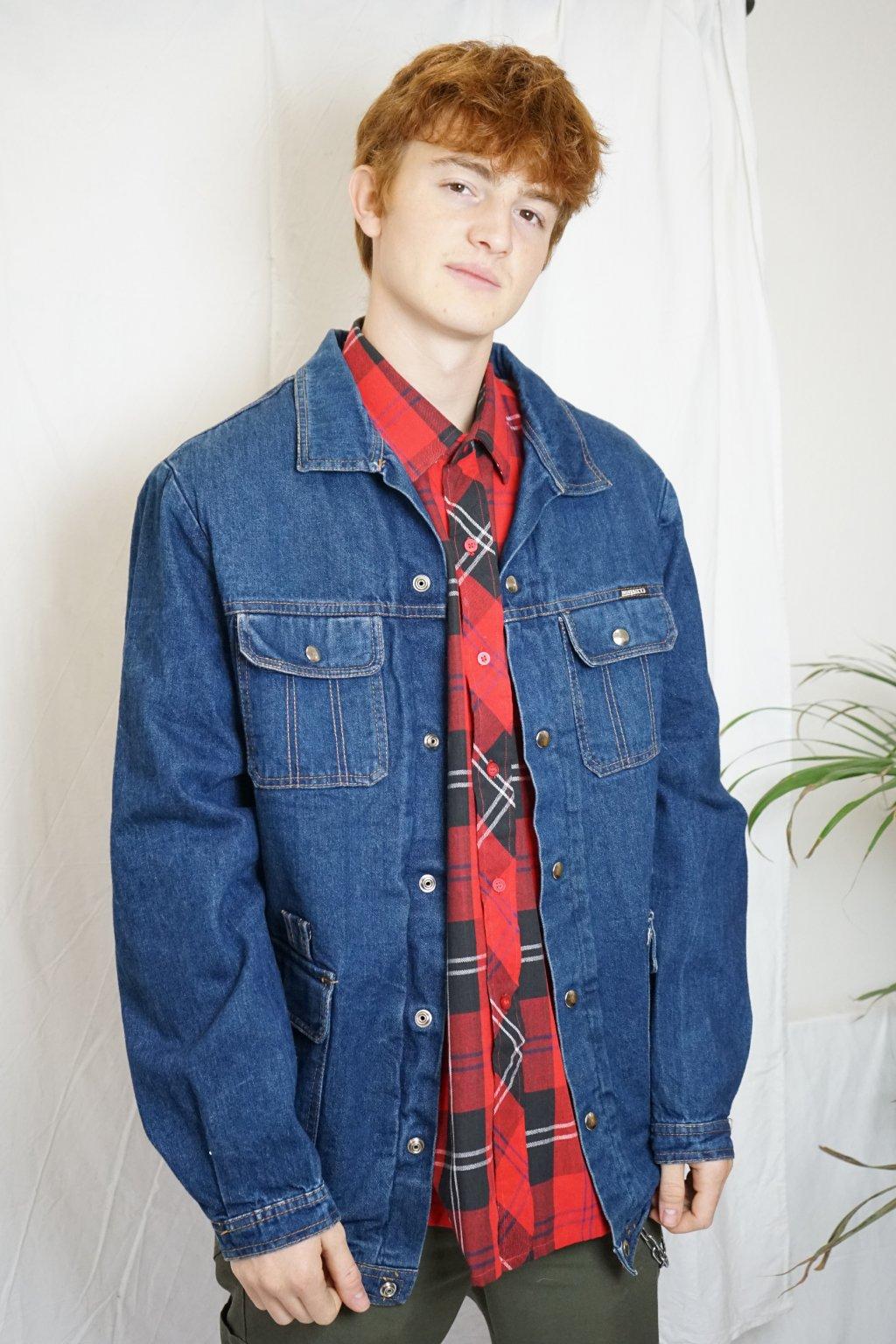 Džínová bunda s podšívkou vel. L