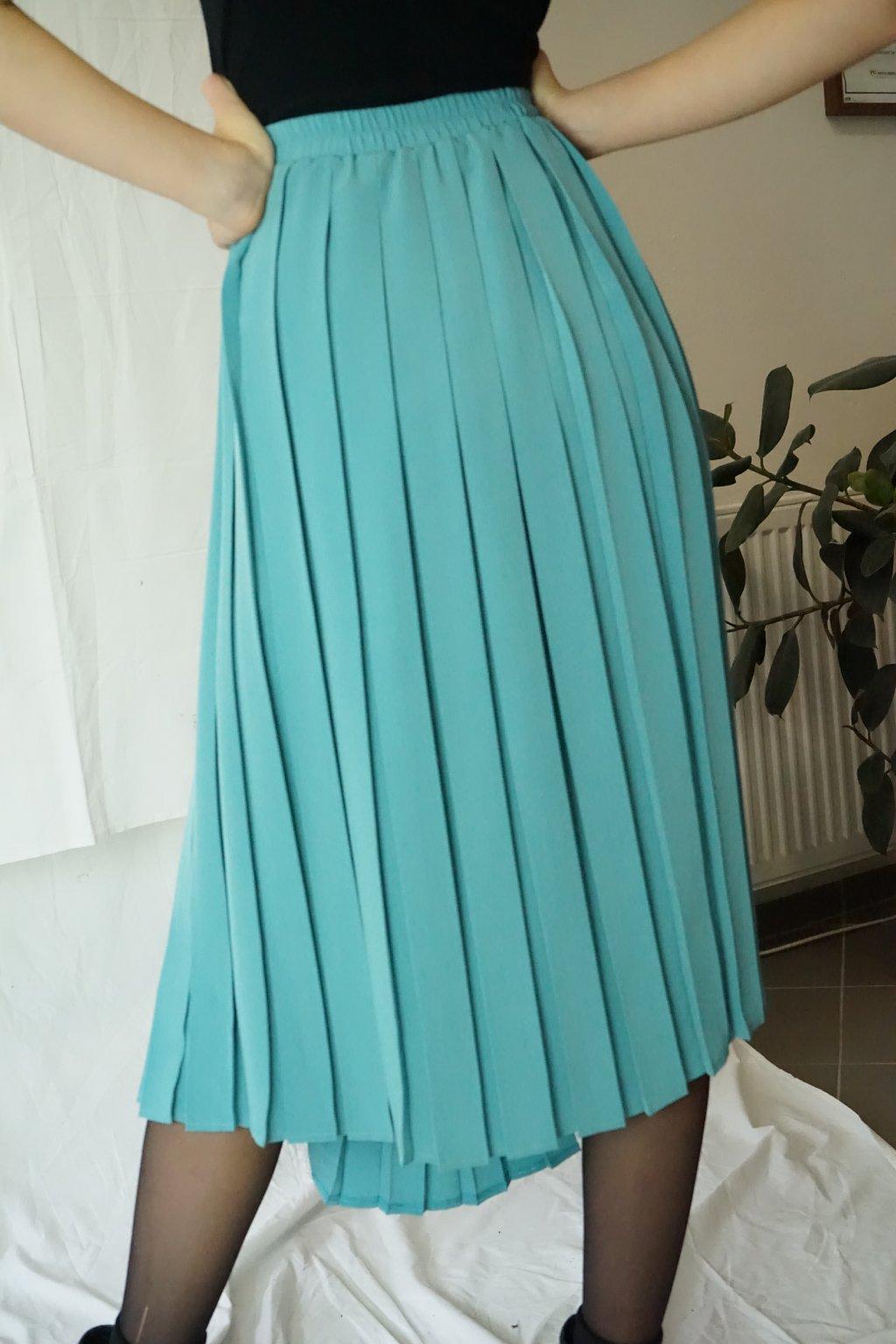 Tyrkysová plisovaná sukně vel. XL