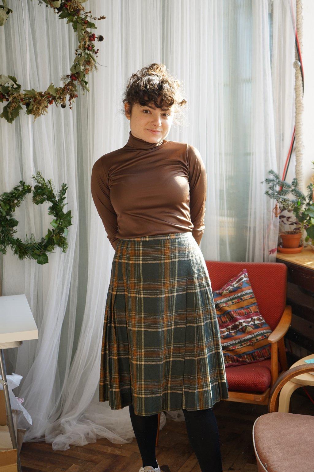Vlněná károvaná sukně vel. S