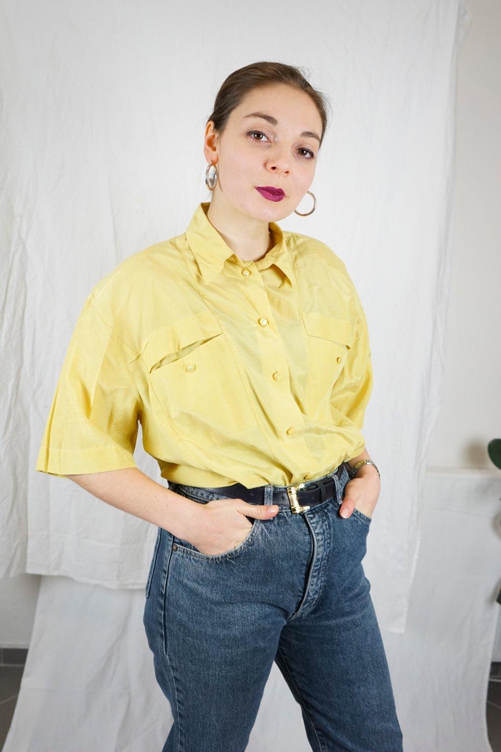 Žlutá hedvábná košile vel. L