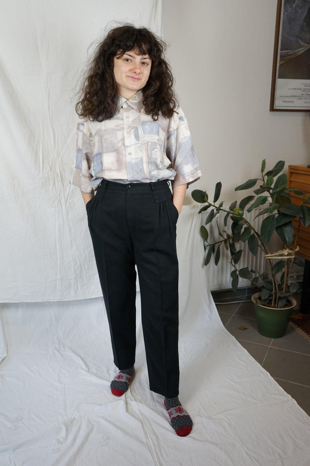 Vlněné černé kalhoty vel. S/M