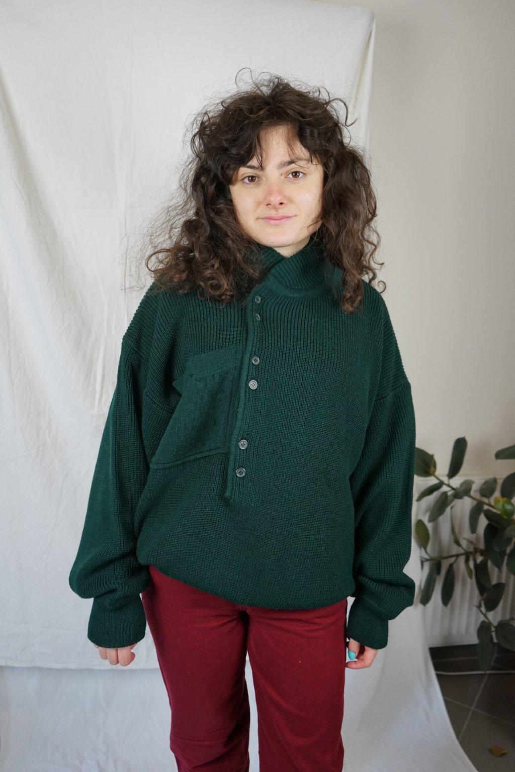 Zelený vlněný svetr vel. L
