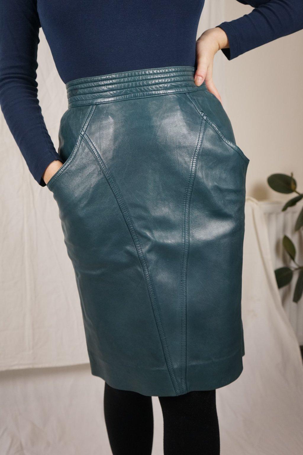 Petrolejová kožená sukně vel. S/M