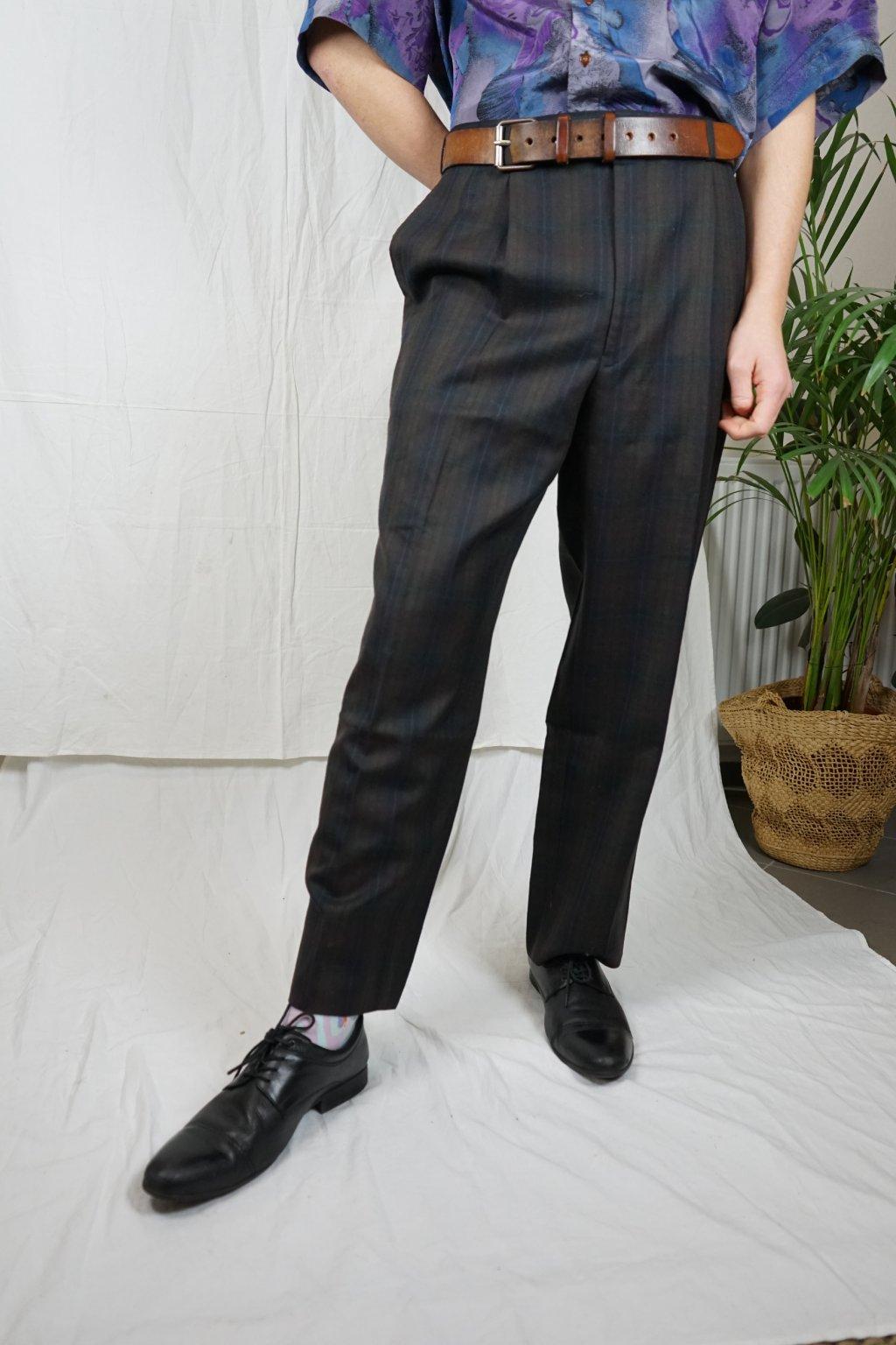 Kárované kalhoty vel. XL