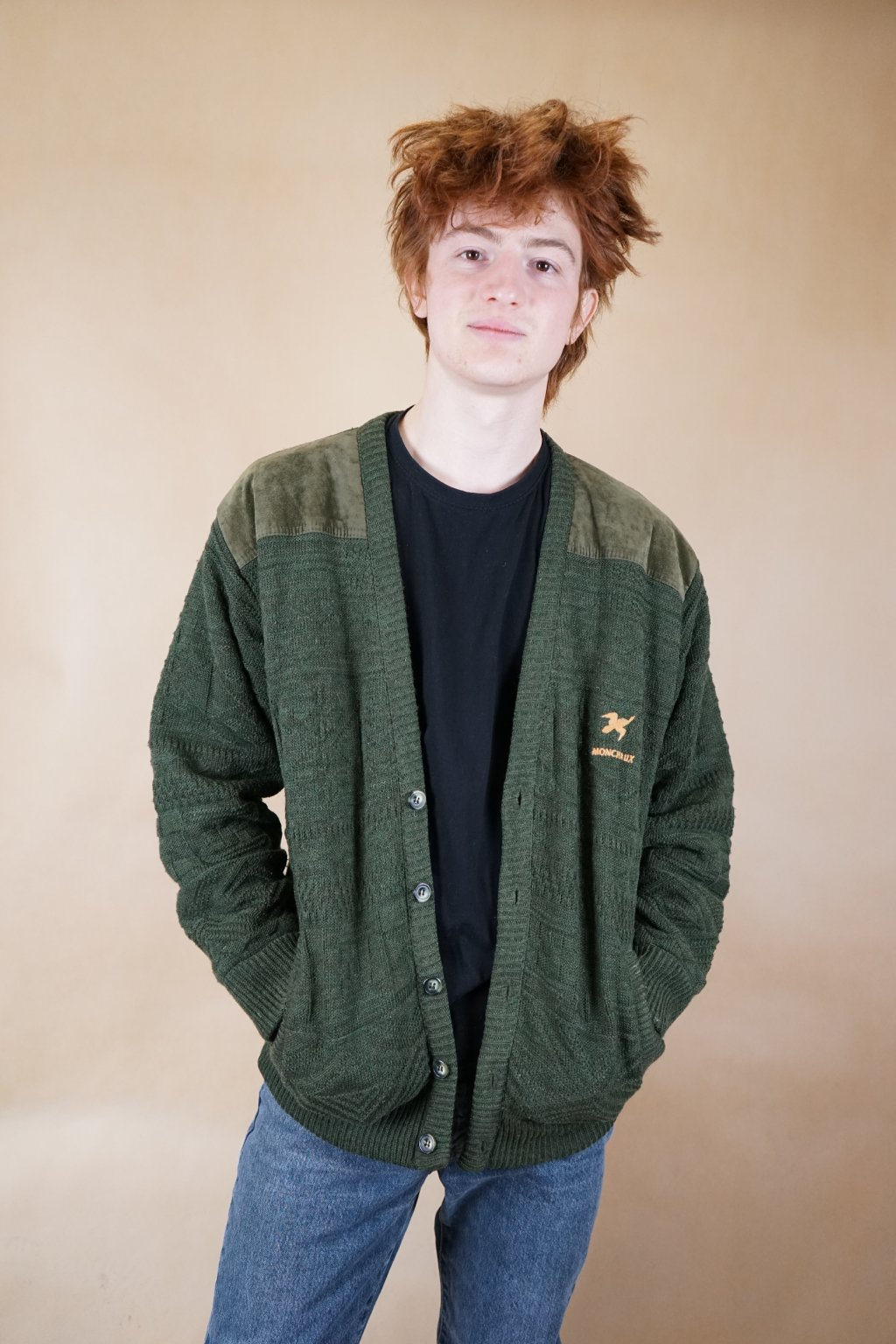 Zelený trachtový svetr/bunda vel. L
