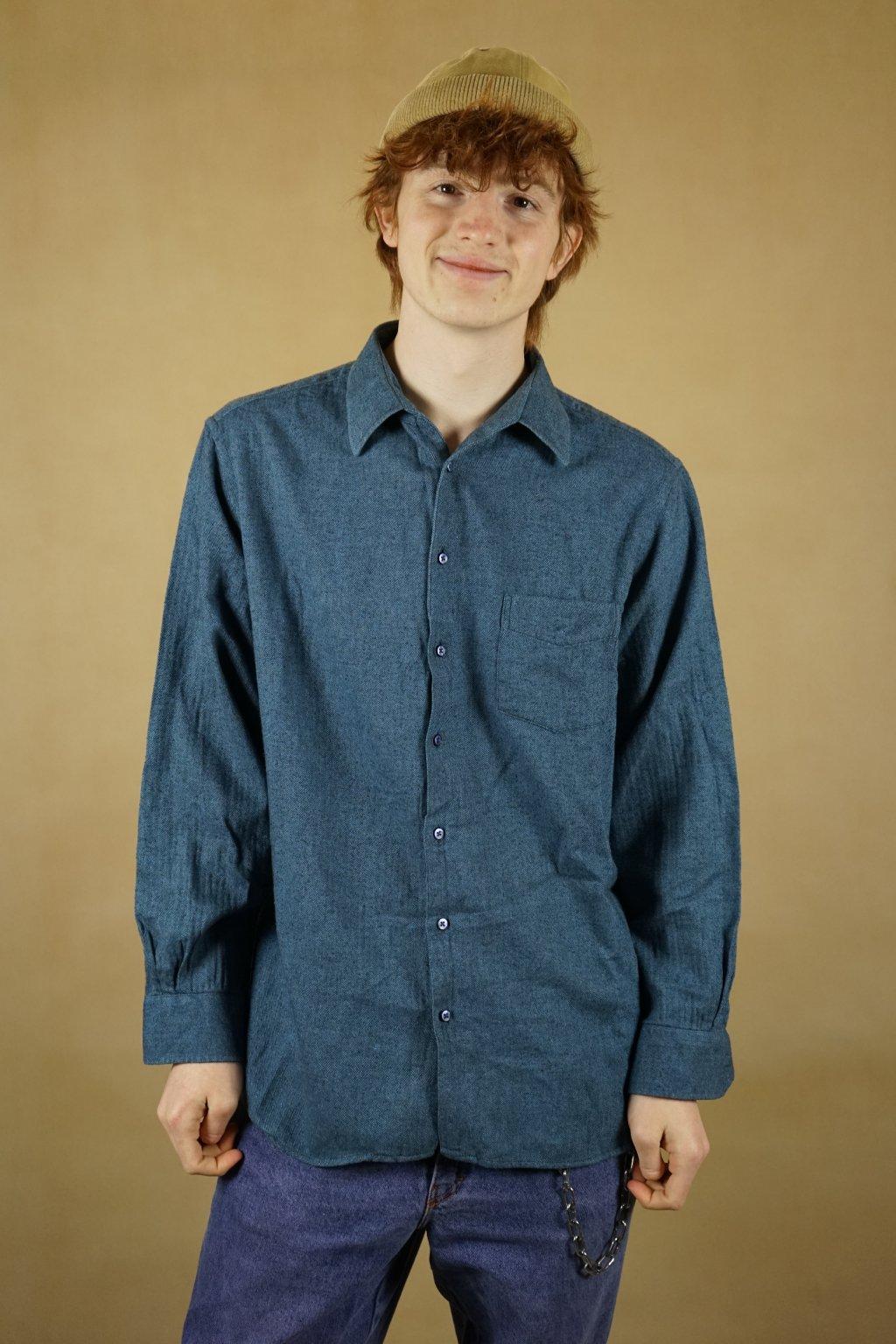 Tmavě modrá flanelová košile vel. XL