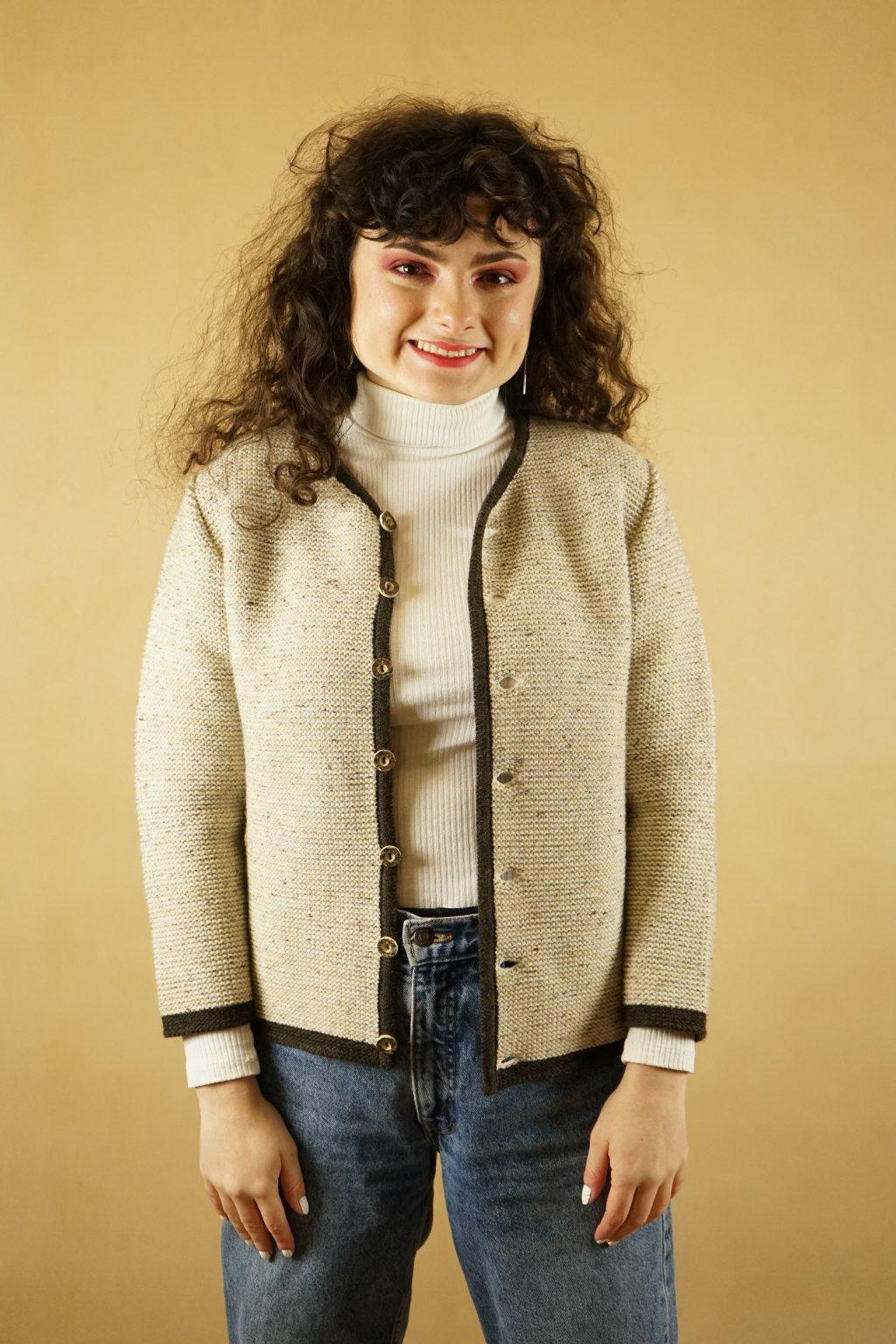 Trachtový vlněný svetr s hedvábím vel. S/M