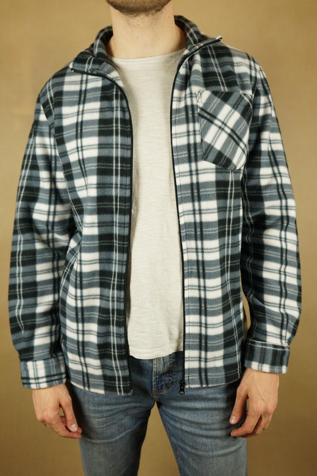 Károvaná plyšová košile na zip vel. L