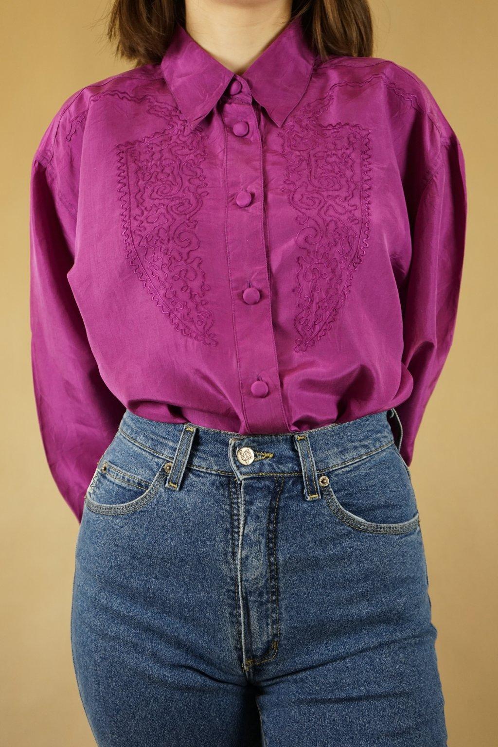 Fialová hedvábná košile vel. L