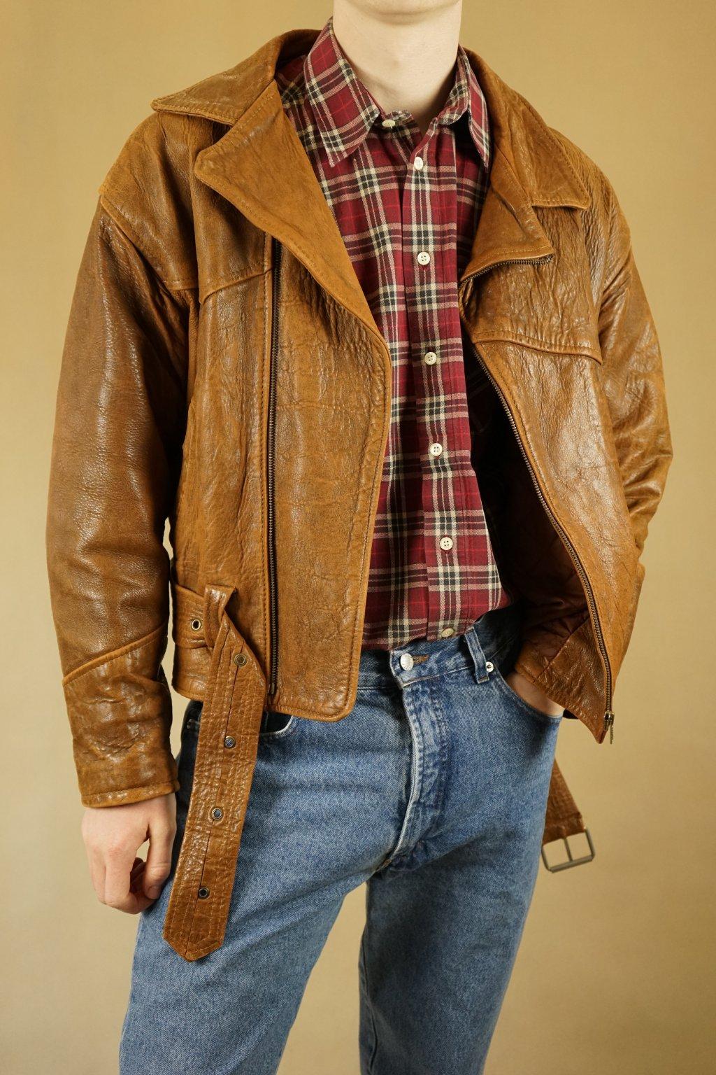 Kožená biker jacket vel. L/XL