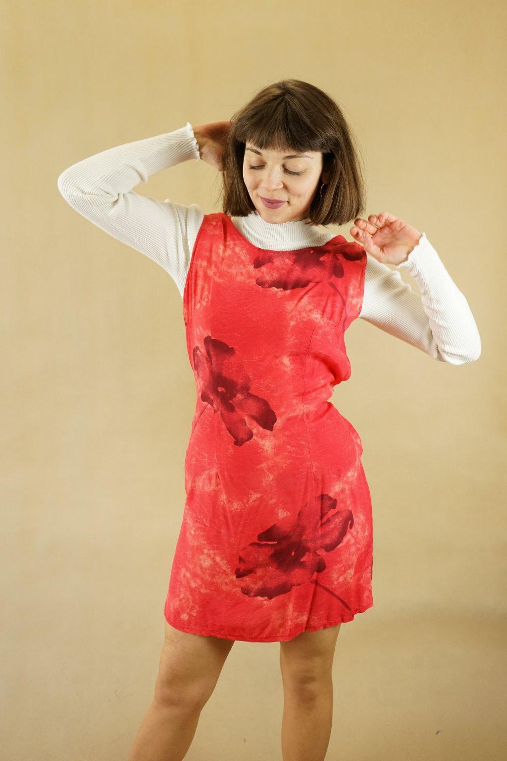 90s červené šaty vel. S/M