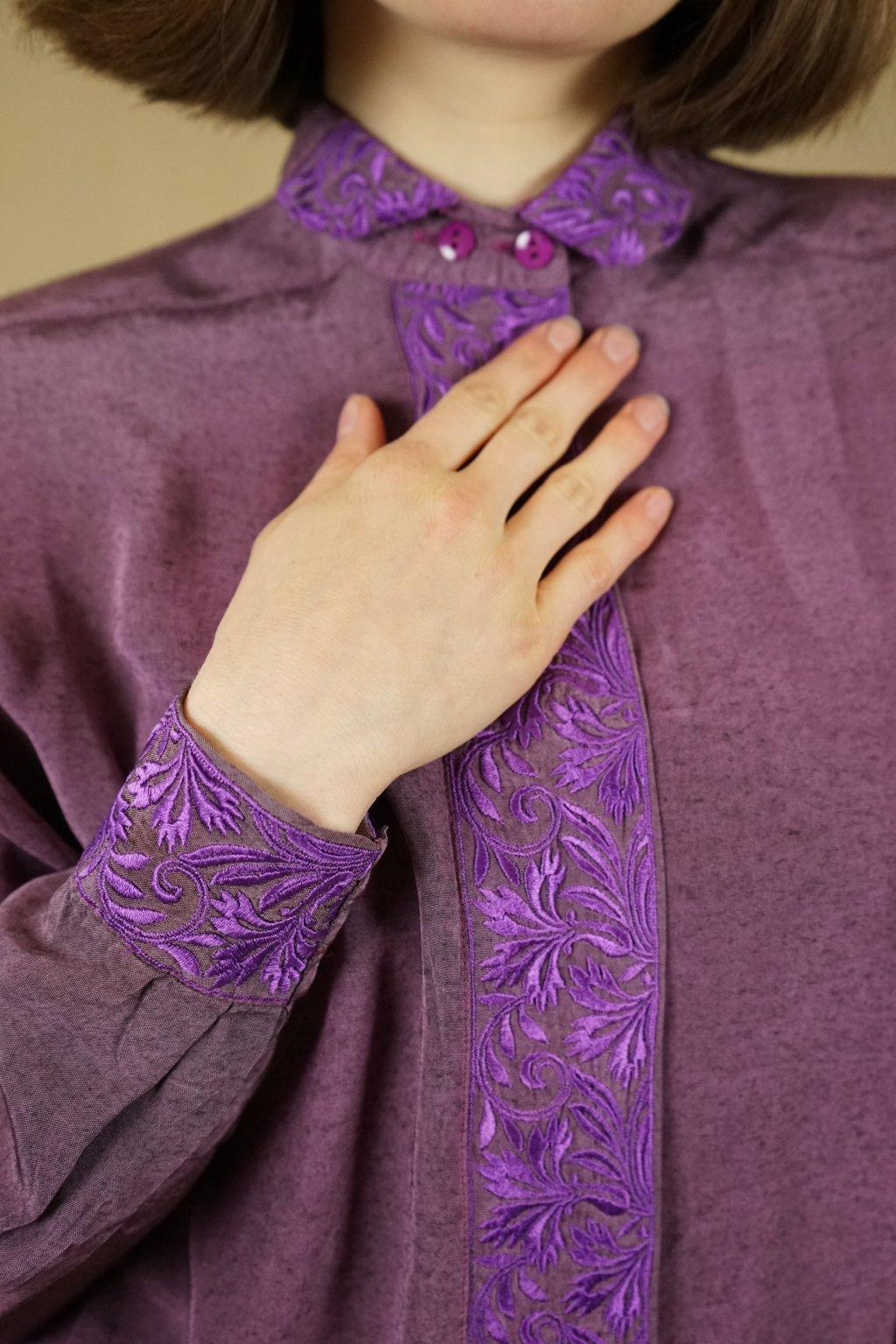 Fialová košile s výšivkou vel. S