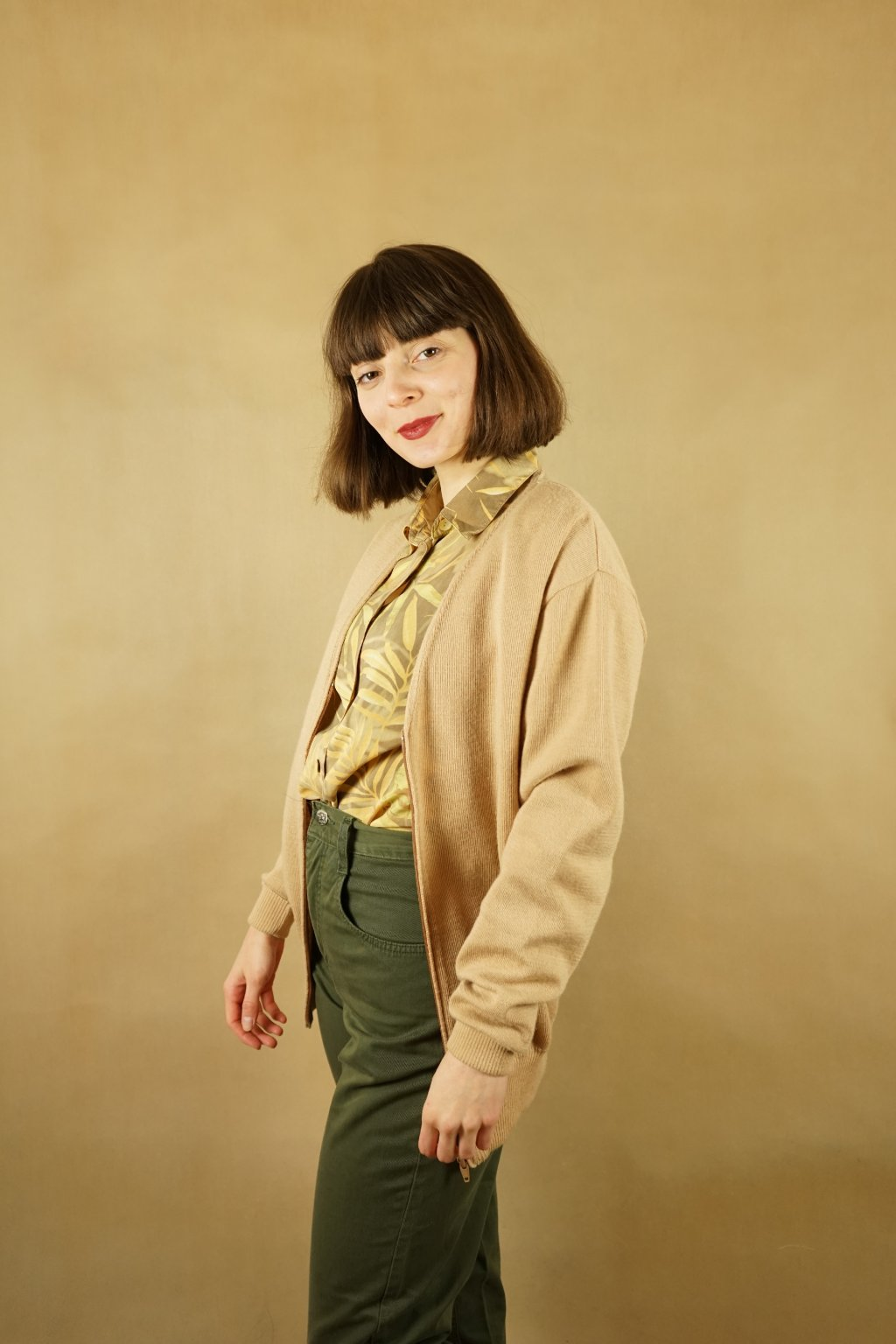 Vlněný béžový svetr na zip vel. M/L