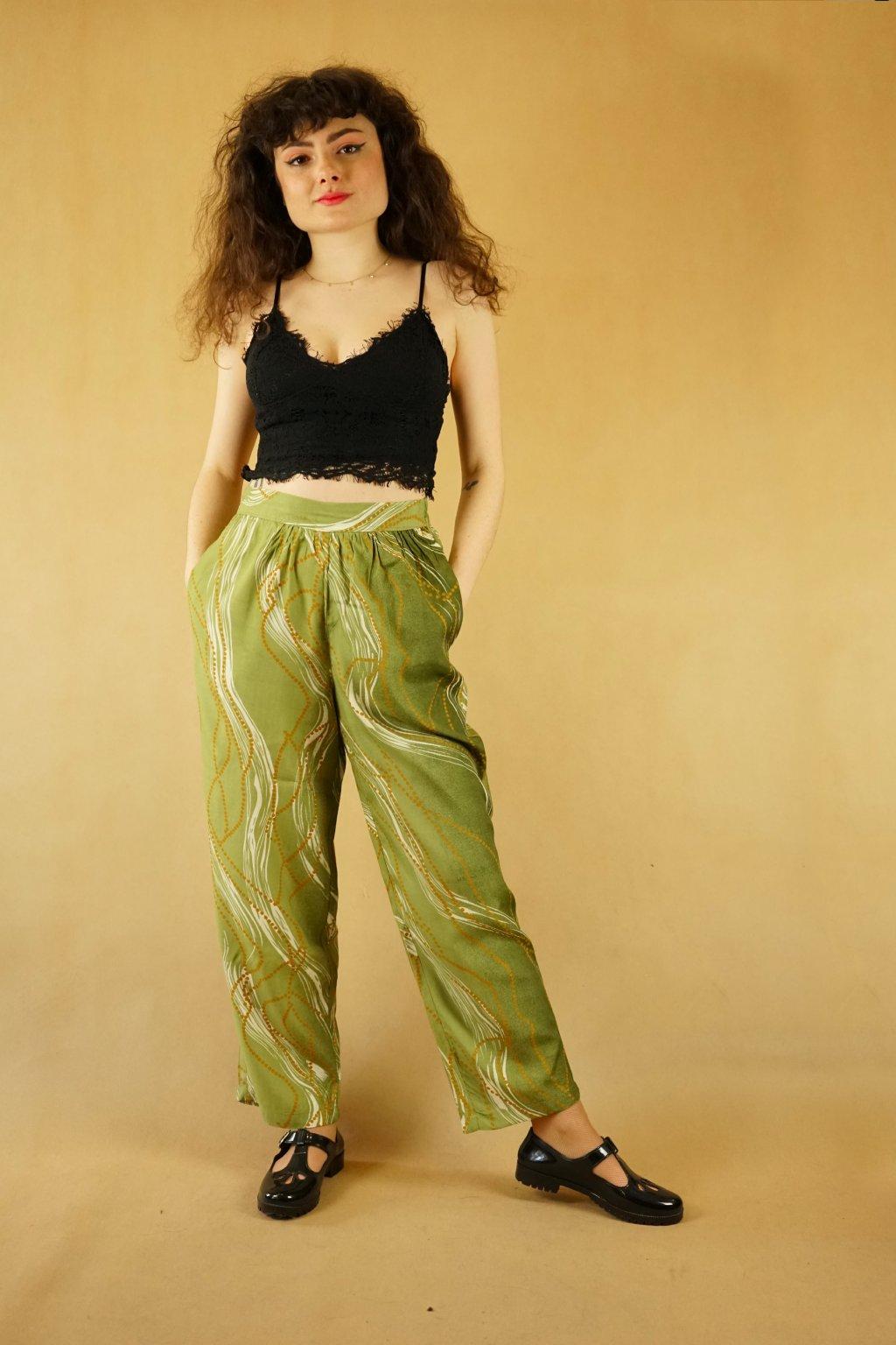 Zelené kalhoty do pasu vel. L - XL