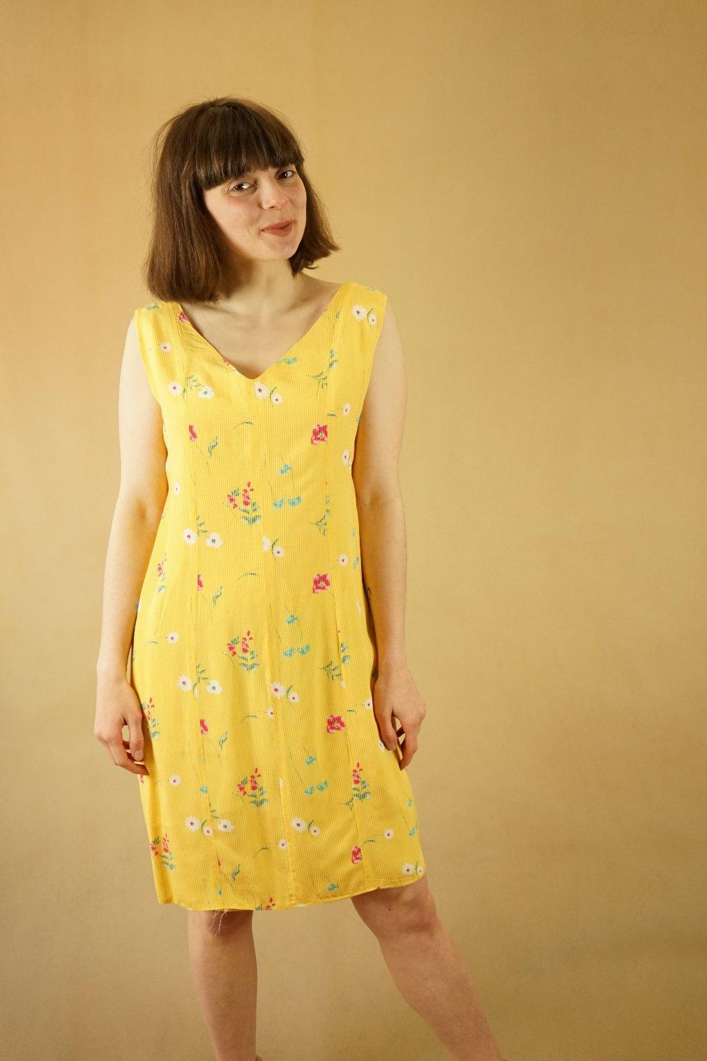Žluté květinové šaty vel. S/M