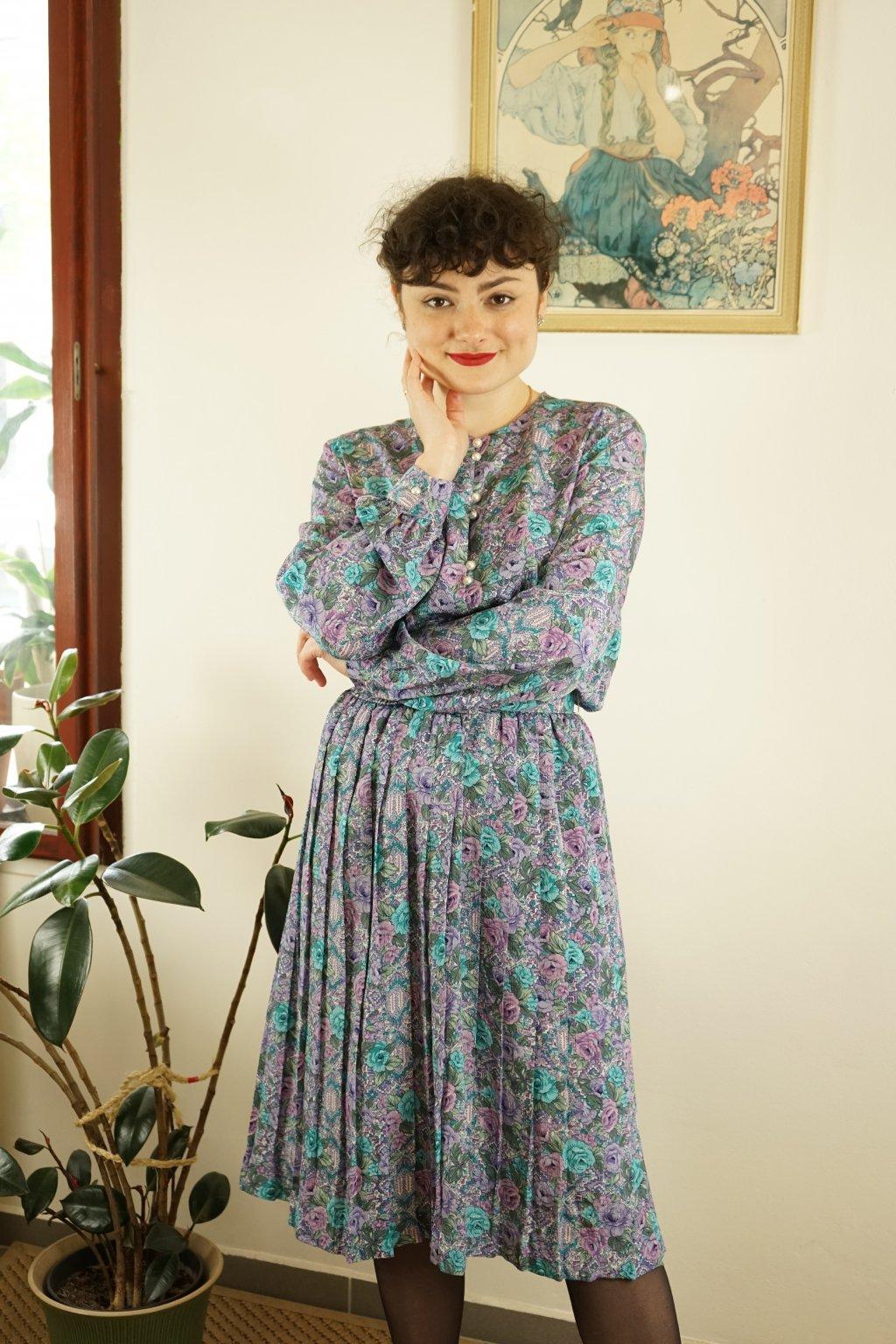 80s květinové šaty vel. M
