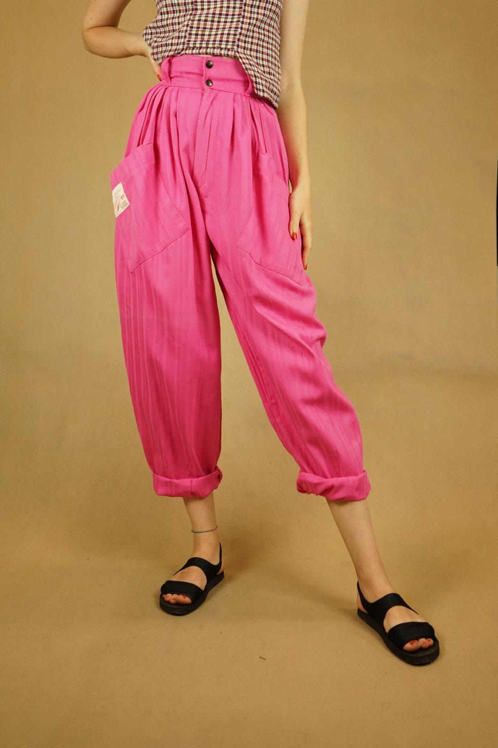 Růžové kalhoty do pasu vel. XS