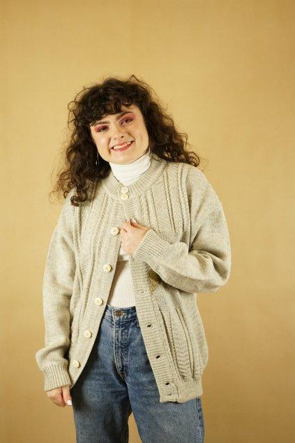 Trachtový vlněný svetr vel. L