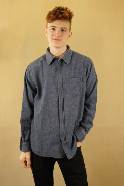 Modrá košile na zip vel. L