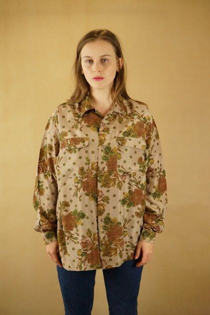 Vzorovaná hedvábná košile vel. L