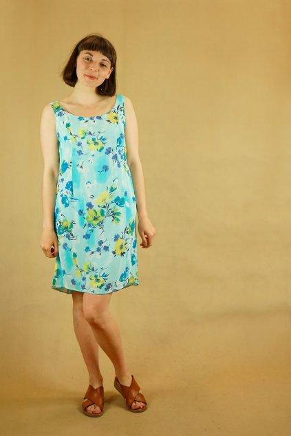 90s modré šaty vel. S/M