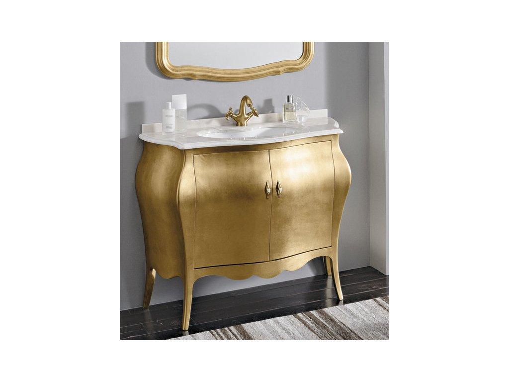 Skříňka s umyvadlem, š. 107cm, mramor Bianco Carrara, oro
