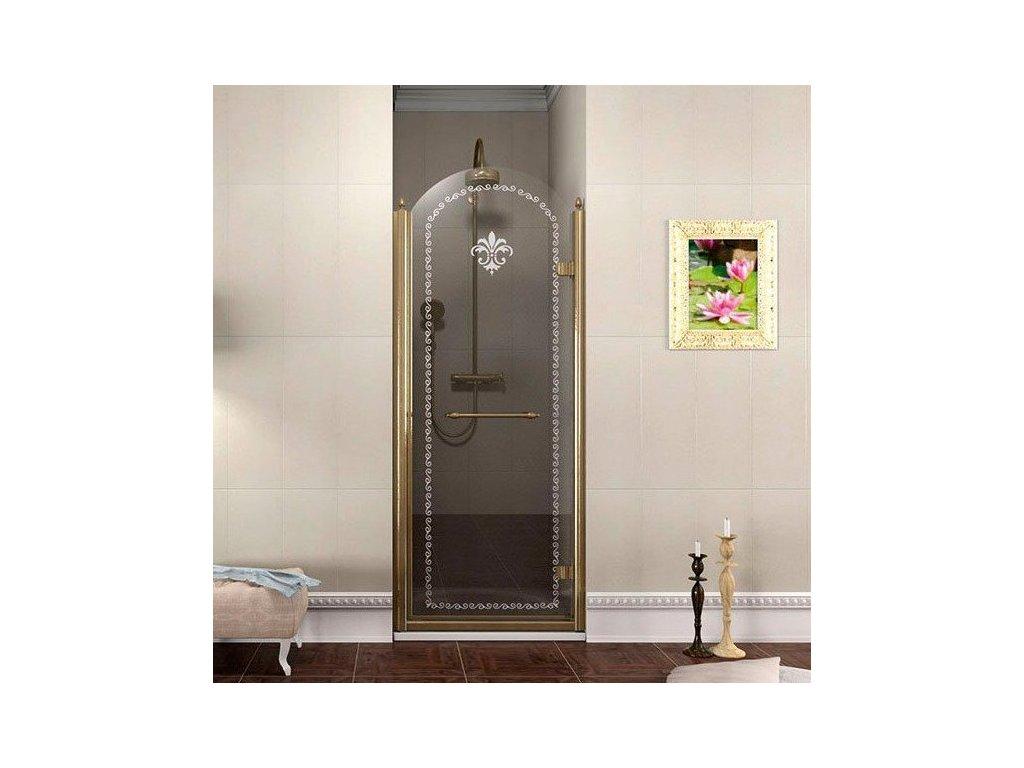 ANTIQUE sprchové dveře 900mm, pravé, ČIRÉ sklo, bronz GQ1390RC