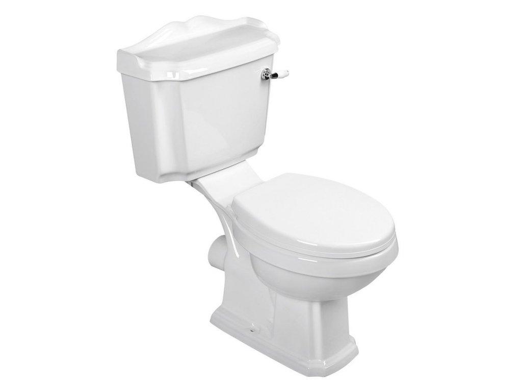 ANTIK WC kombi, mísa+nádržka+splachovací mech. s páčkou+PP sedátko, bílá/c AK107