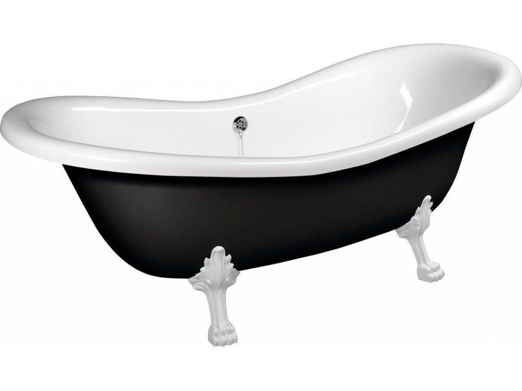 CHARLESTON volně stojící vana 188x80x71cm, nohy bílé, černá/bílá 72959